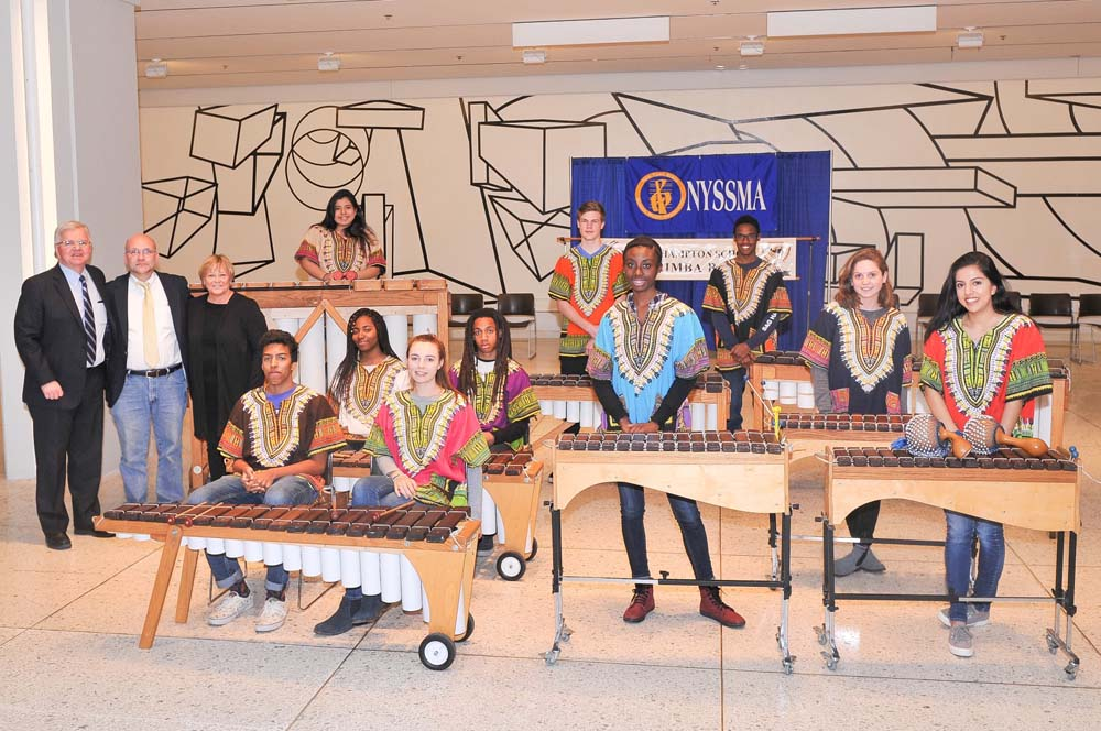 Assemblyman Fred W. Thiele Jr. welcomed the Bridgehampton School Tewa Marimba Ensemble on Wednesday, March 23, 2016 during their performance on the South Concourse of the Empire State Plaza in Albany