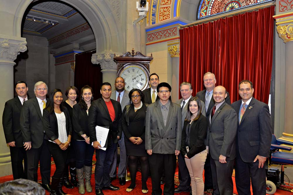 Assemblyman Fred W. Thiele, Jr. welcomed several Suffolk County Community College students who travelled to Albany on Thursday, February 25, 2016 to advocate for higher education initiatives and the i