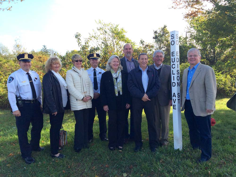 New York State Assemblyman Fred W. Thiele, Jr. is joined by East Hampton Town Officials to announce their partnership construct a new municipal parking field in downtown Montauk to help alleviate park