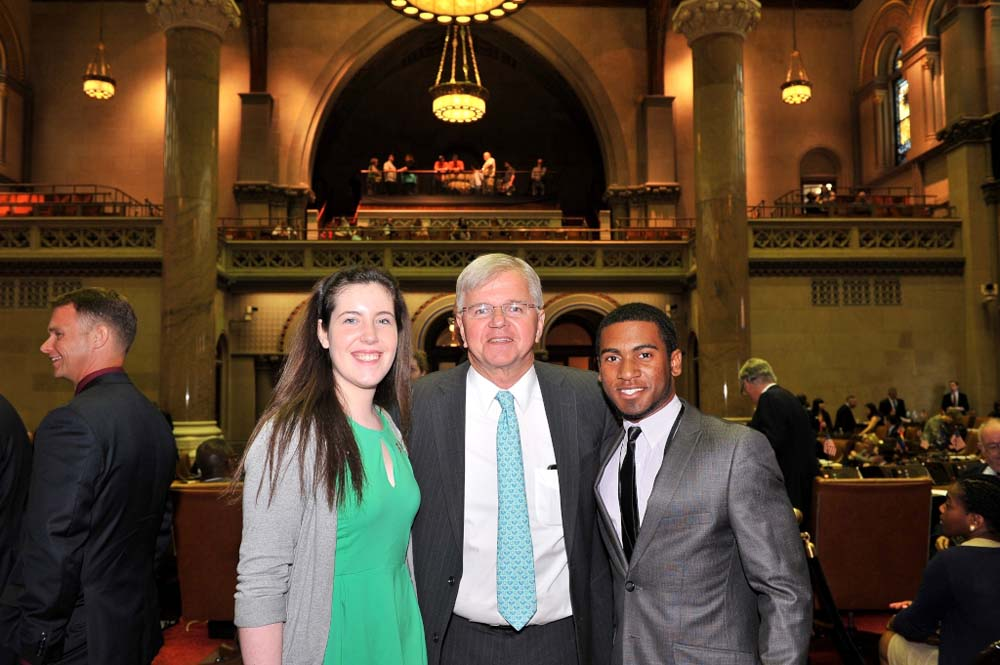 Assemblyman Fred W. Thiele, Jr. welcomed Sarah Pierson and William Reddick to the Assembly Chamber in Albany on Monday, May 18, 2015.  These Southampton High School students were selected to attend th