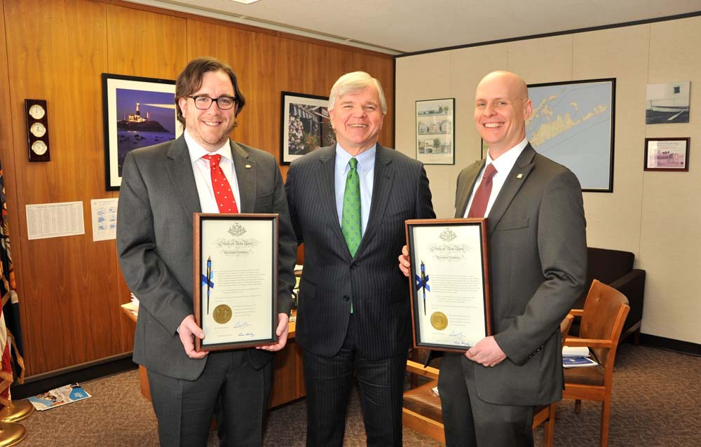 On Library Advocacy Day celebrated in Albany on Wednesday, February 25, 2015, Assemblyman Fred W. Thiele, Jr. presented the pen certificates of two bills that he sponsored while he served as Chairman