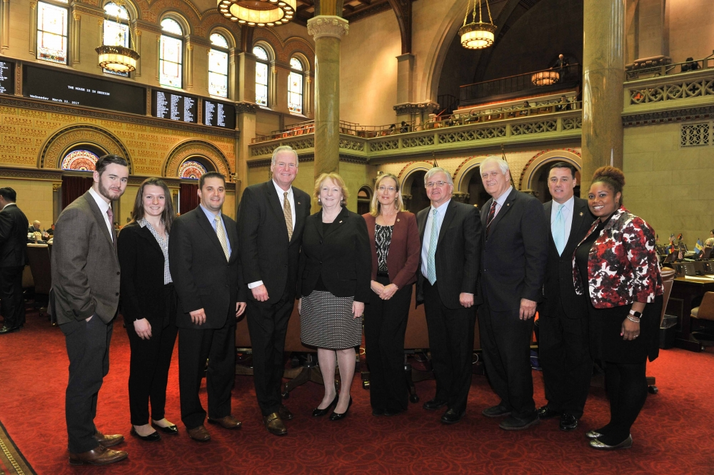 Assemblyman Fred W. Thiele, Jr. (I, D, WF, WE-Sag Harbor) and other members of the New York State Assembly's Suffolk County Delegation, welcomed Suffolk County Legislators Kate Browning and Bridg