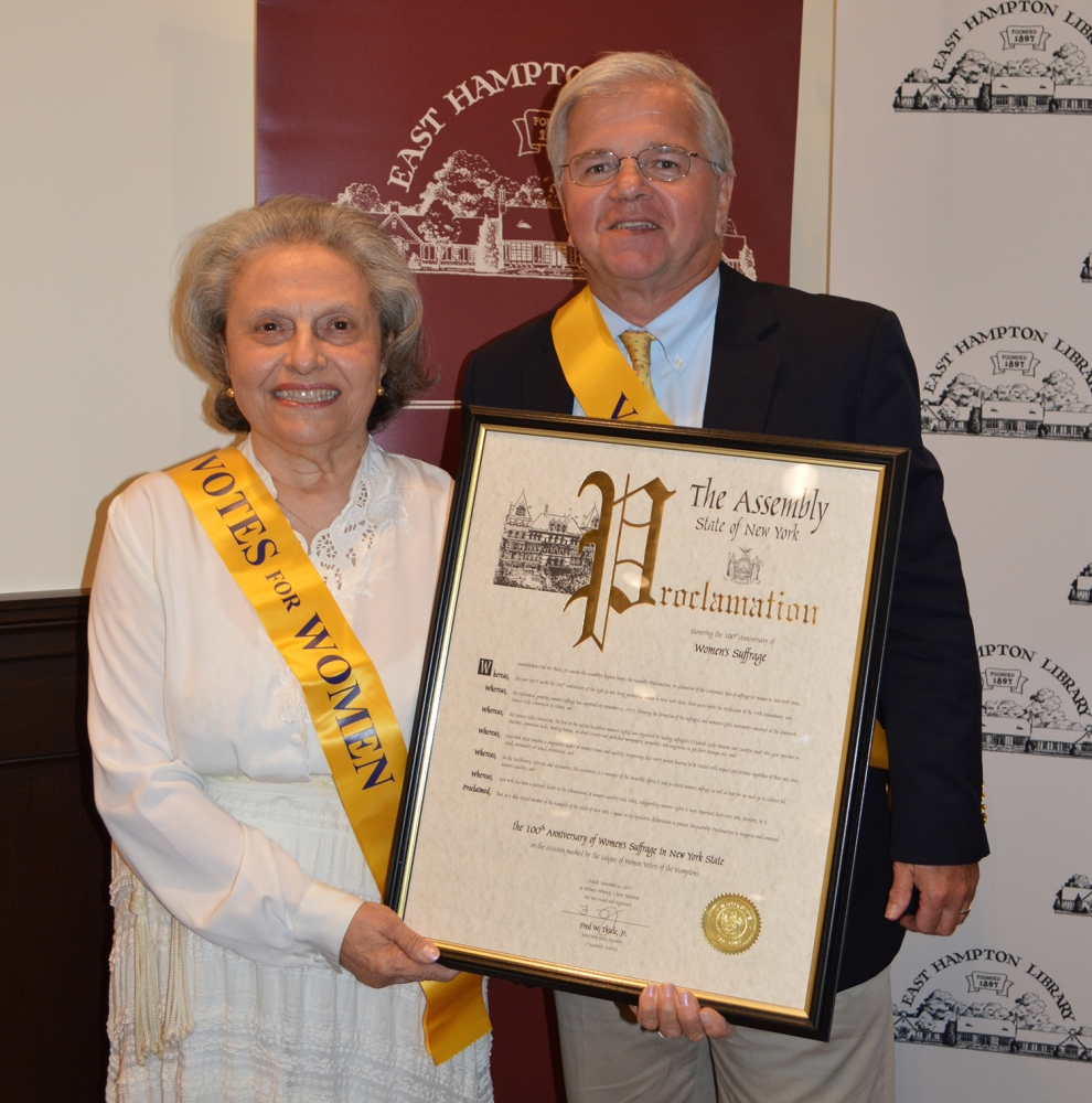 On October 19, 2017, NYS Assemblyman Fred W. Thiele, Jr. presented a proclamation on behalf of the New York State Assembly to historian Arlene Hinkemeyer, a member of the League of Women Voters of the