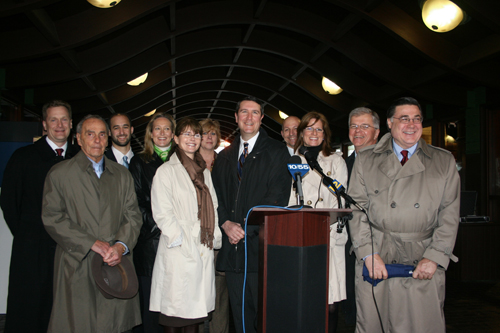 Assemblyman Fred Thiele is pictured at a press conference with local elected officials challenging the validity of the MTA Payroll Tax.