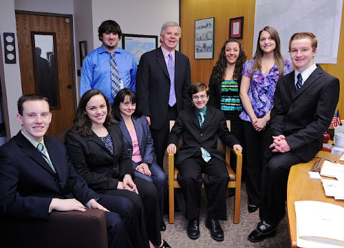 New York State Assemblyman Fred W. Thiele, Jr. meets with William Floyd High School representatives from the YMCA Youth and Government Program on April 11, 2011 to discuss their legislative agenda.