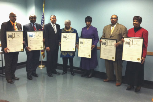 Assemblyman Ramos presents awards to African American community leaders in recognition of Black History Month [Pictured left to right: Keith Allison, Marvin Smith, Mary Reid, Gail Kirkham, Reverend Roderick Pearson and Dr. Francis L. Brisbane].