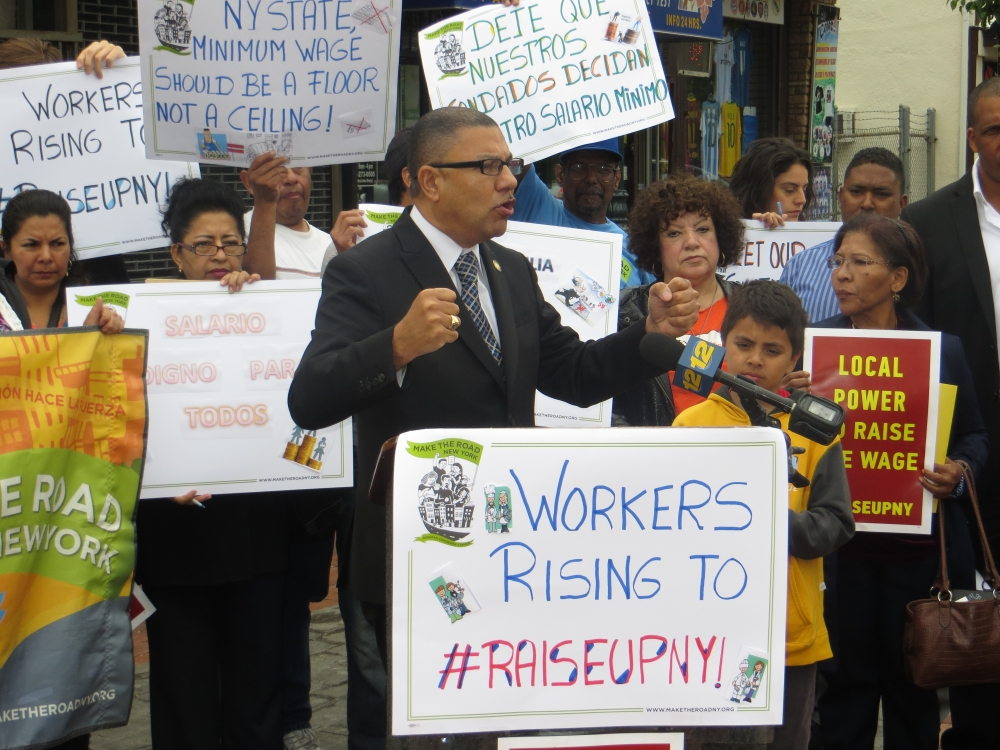 Assemblyman Phil Ramos with Make the road NY, New York Communities for Change, Sepa Mujer, fighting for an increase in the minimum wage as well as a local option to raise it.