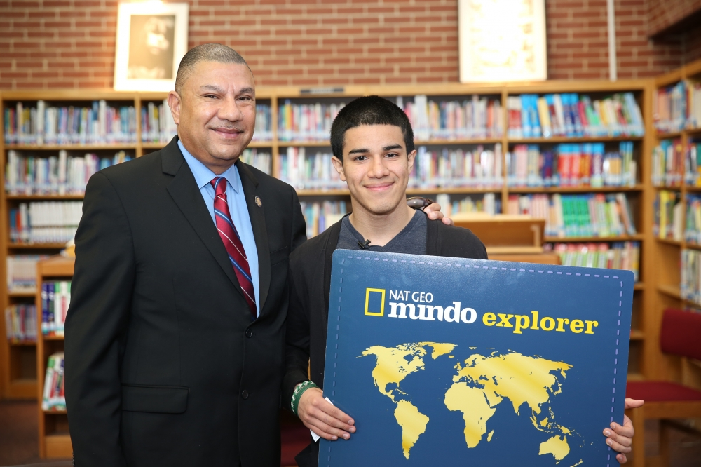 Last fall, Assemblyman Ramos brought together National Geographic and Cablevision to sponsor a local essay contest in Brentwood where the winner would receive an all-expenses paid educational trip to