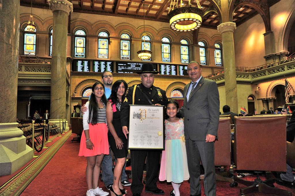 Assemblyman Ramos and the Long Island delegation presented Officer Jos� Nu�ez with a proclamation for his dedication to serving the people of Suffolk County and for being a pillar of the community bot