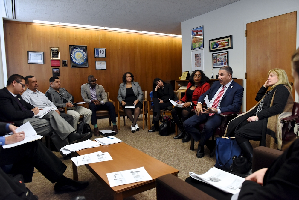 Assemblyman Phil Ramos and other Long Island elected officials met with various community groups, including:  Make the Road New York, 32BJ and New York Communities for Change to discuss raising New Yo