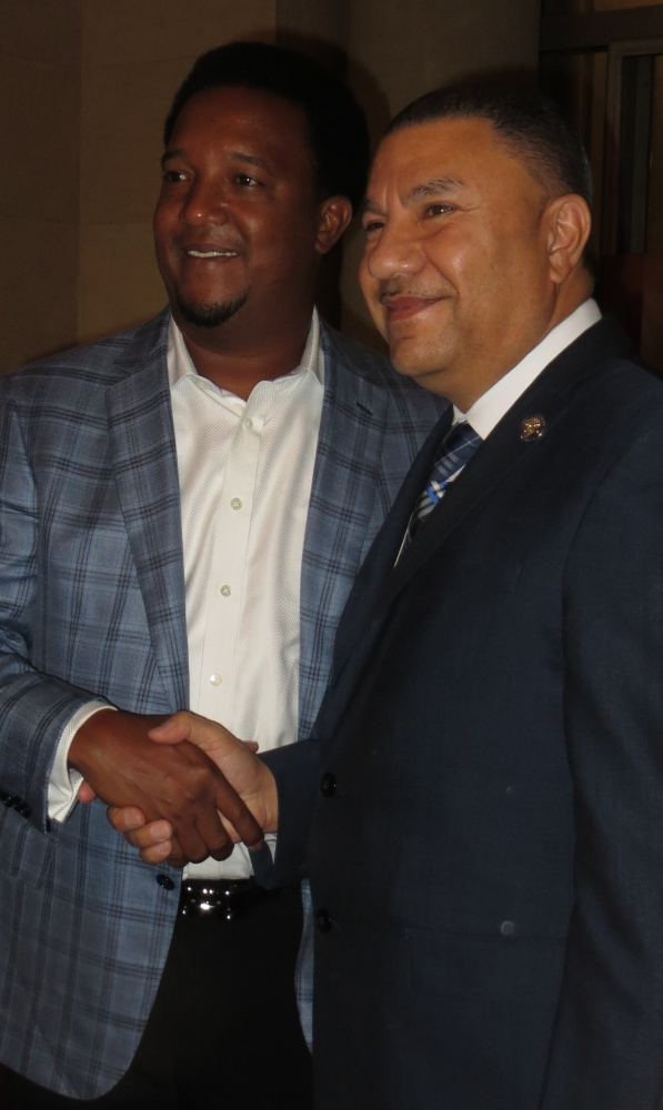 Assemblyman Ramos with baseball legend, Pedro Martinez, who was honored today by the Assembly for his recent induction into the National Baseball Hall of Fame. The resolution also celebrated the contr