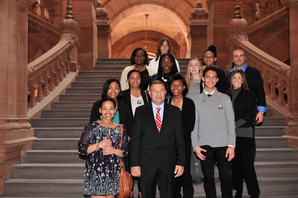 Students from the Baldwin School District come to Albany to meet with Assemblyman Phil Ramos and learn about state government and the legislative process.