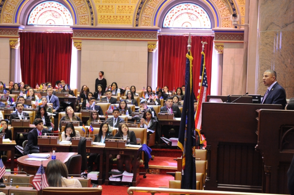 Assemblyman Phil Ramos, chair of the PRHYLI, welcomed Latino youth from across the state who were participating in a weekend-long conference in Albany in which they learned about state government and
