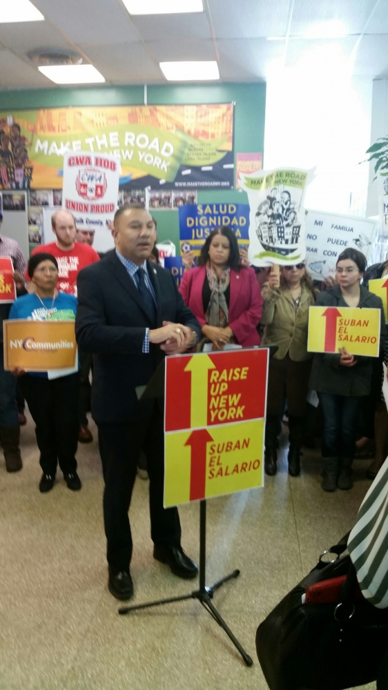 Assemblyman Ramos joins Make the Road New York at a press conference calling for a raise in the state's minimum wage � with a higher rate for high cost of living areas such as Suffolk county.
