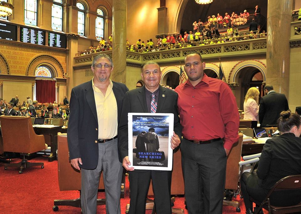 Assemblyman Ramos alongside Director, Daniel Lencinas and Producer, Julio Frometa (Bay Shore) discussing the new film