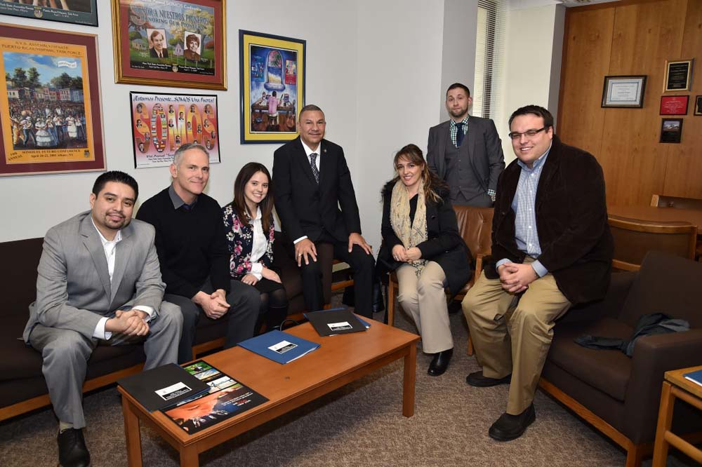 A group from the National Association of Social Workers visited from Stony Brook University to discuss matters concerning social workers with Assemblyman Ramos.