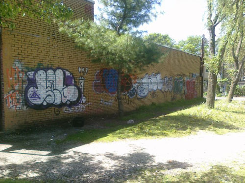 Graffiti tagged on a building in the community was soon to be cleaned by the graffiti removal campaign sponsored by Assemblyman Ramos