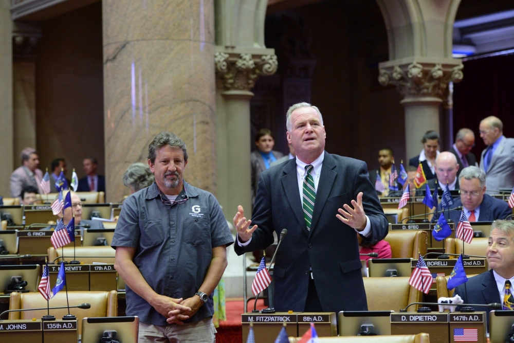 Assemblyman Mike Fitzpatrick (R,C,I � Smithtown) introduces the secretary of the NYS Brewers Association, Rich Vandenburgh, in the Assembly Chamber. The New York State Brewers Association recently cam