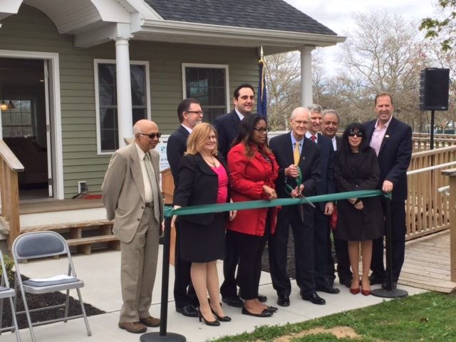 Assemblywoman Jean-Pierre attends the ribbon-cutting for the Smart Energy House at SUNY-Farmingdale with Assemblyman Chad Lupinacci, President of SUNY Farmingdale W. Herbert Keen, President of Long Is