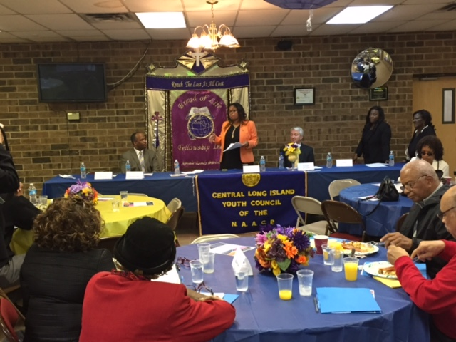 Assemblywoman Jean-Pierre speaks at the NAACP Central Long Island branch legislative breakfast with Senator Phil Boyle and Presiding Officer DuWayne Gregory