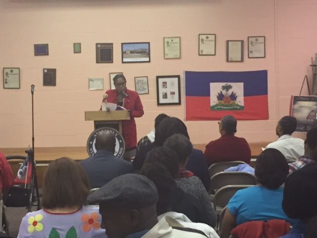 Assemblywoman Jean-Pierre gives a speech at her first annual Haitian Flag Day at the Wyandanch Public Library