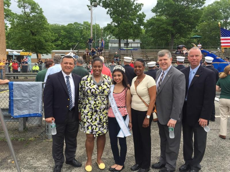 Assemblywoman Jean-Pierre at the Lindenhurst Fire Department parade along with Babylon's Teen Miss New York and Town of Babylon Councilmembers Antonio Martinez, Jacqueline Gordon, Thomas Donnelly and