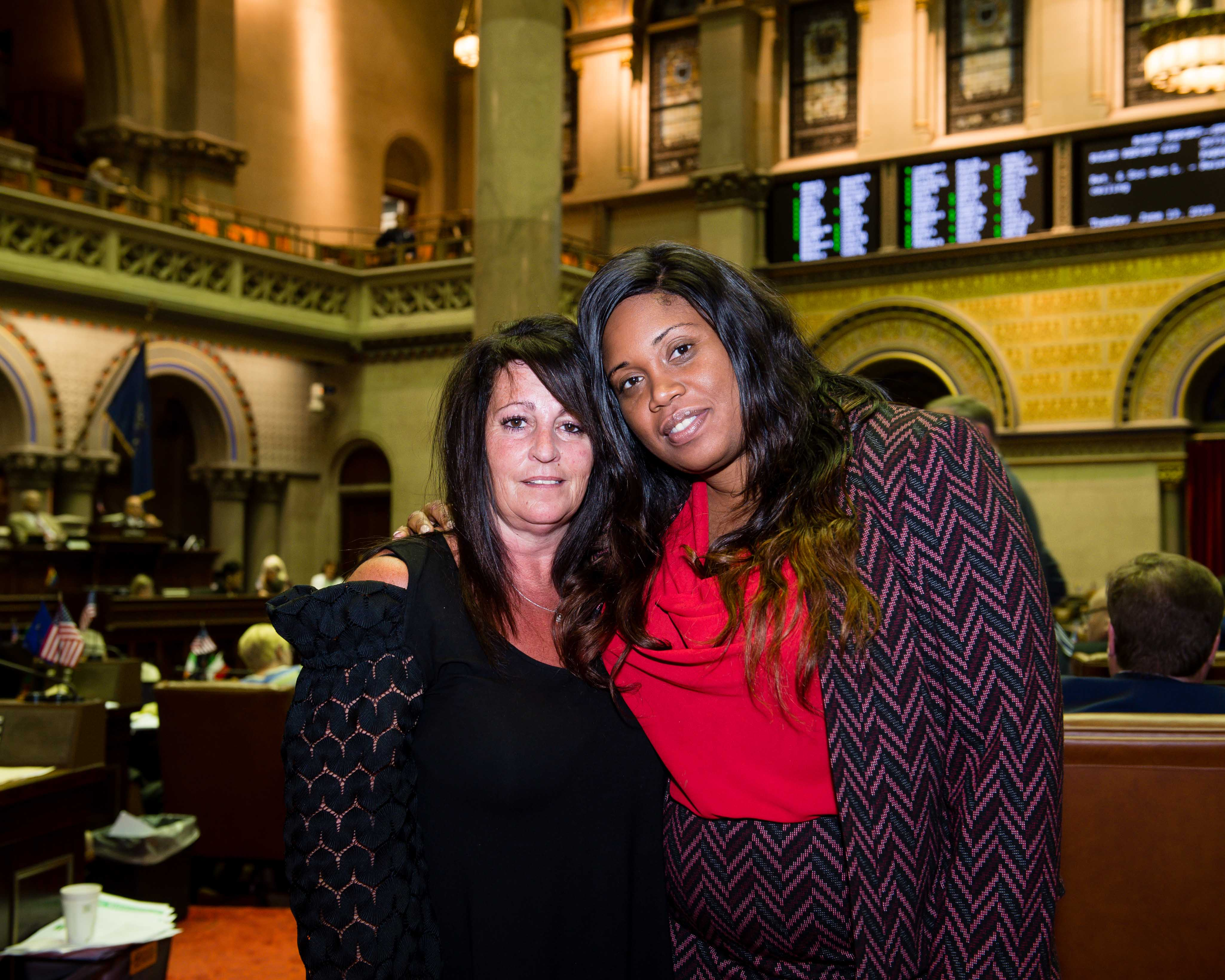 Assemblywoman Kimberly Jean-Pierre with Gina Lieneck, mother of Brianna Lieneck.