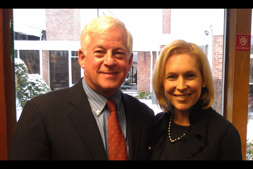 Assemblyman Charles Lavine joined United States Senator Kirsten Gillibrand at Temple Sinai in Roslyn Heights to discuss the importance of maintaining a strong relationship between the United States and Israel.