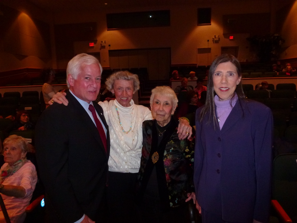 Assemblyman Charles Lavine, left, joined Friends of the Library members Laura Adams, Janie Stockhamer, and Carol Meschkow at the 50th anniversary celebration for the Plainview-Old Bethpage Library. As