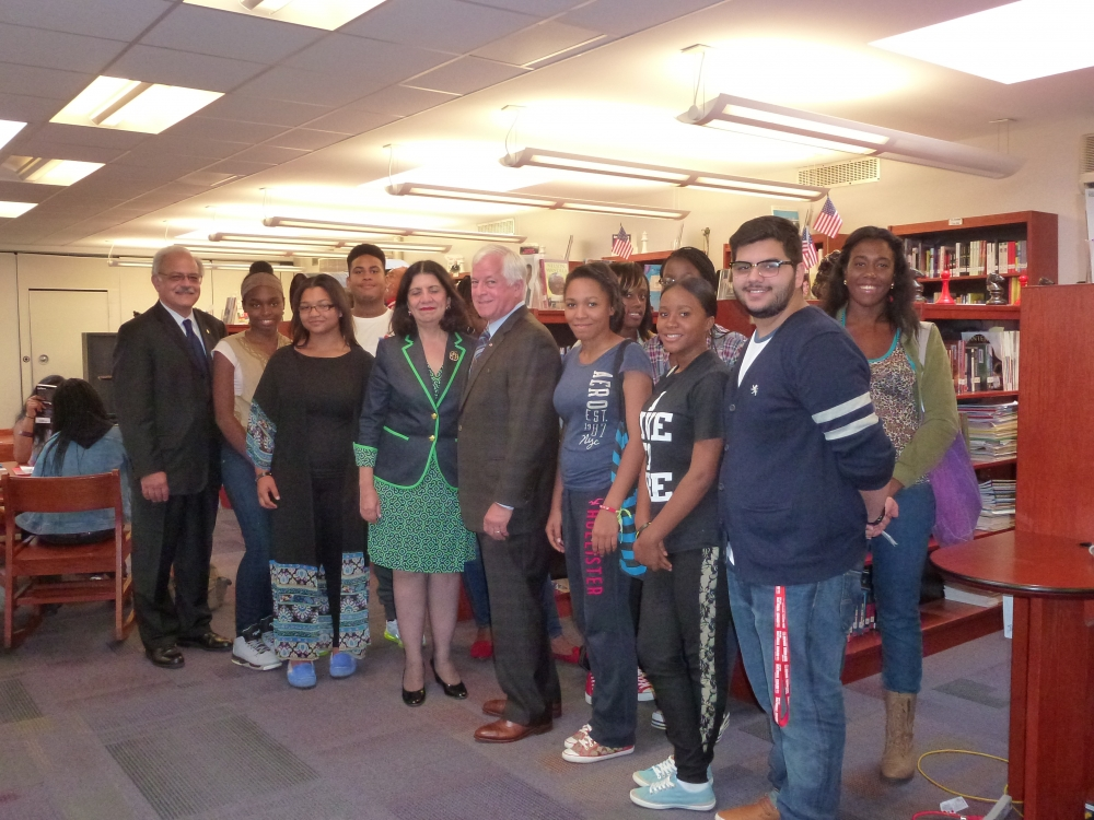 Assemblyman Charles Lavine, center, joined Dr. Mary Lagnado, Superintendent of Westbury Schools, Westbury High School Principal Manuel Arias, and students on a recent visit where they discussed the $5
