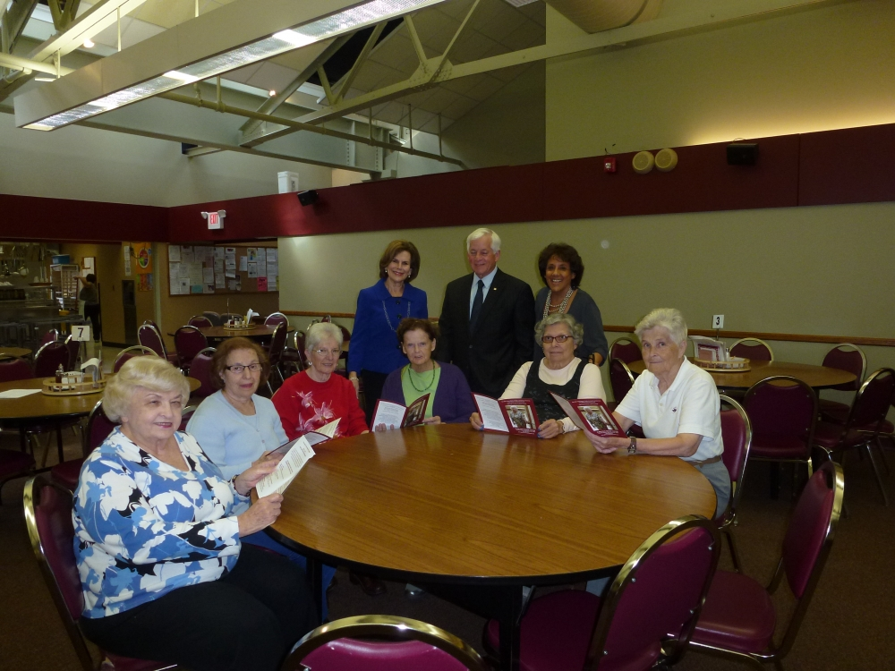 Assemblyman Charles Lavine (D-Glen Cove) joined Carol Waldman, to his right, Executive Director of the Glen Cove Office of Senior Services, and Lorraine Greenberg, to his left, Project Coordinator, du