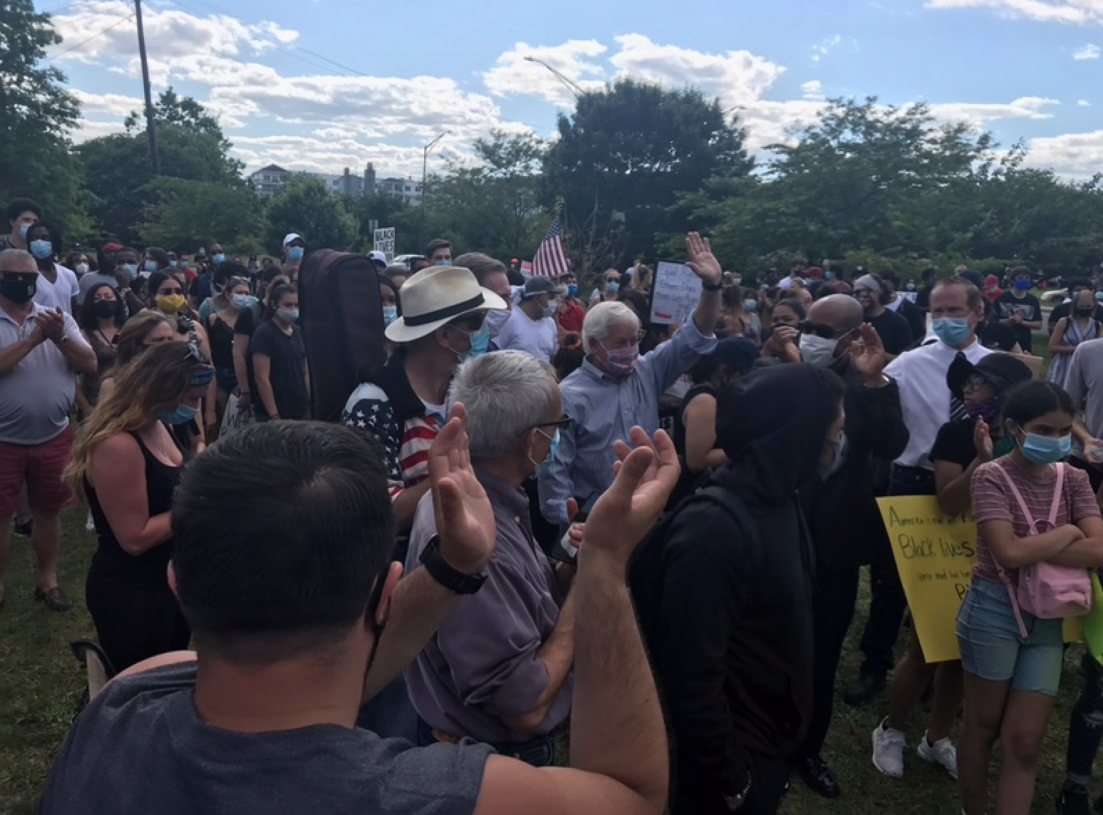 Assemblymember Lavine marches at the Black Lives Matter March in Glen Cove.