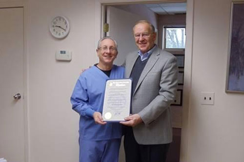 Assemblyman Dave McDonough (R,C,I-Merrick) recently visited Dr. David G. Rolnick, a local dentist who has announced his retirement after nearly 40 years caring for the members of the North Bellmore community.