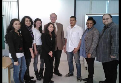 Assemblyman Dave McDonough meets with students from the Politics, Economics and Law Club at SUNY Old Westbury.