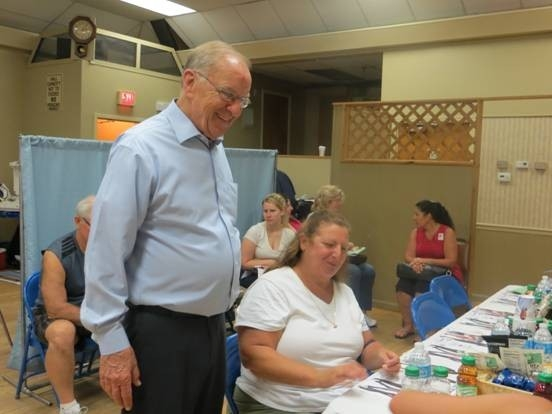 Assemblyman Dave McDonough welcomes donors and staff during the recent blood drive.
