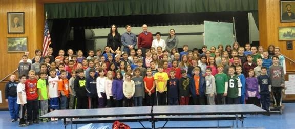 Assemblyman Dave McDonough is joined by fourth graders at Seaford Elementary School.