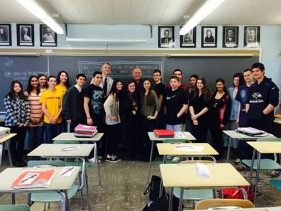 Assemblyman Dave McDonough meets with students in Mr. Dircks� U.S. History class at Mepham High School.