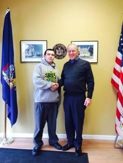 Assemblyman Dave McDonough meets with Anthony Clark of Boy Scout Troop 96.