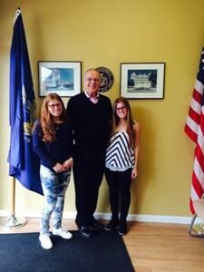 Assemblyman Dave McDonough meets with Emily and Anna Lawrence, juniors at JFK High School in Bellmore, who co-founded Stop Texting and Driving (STANDD).