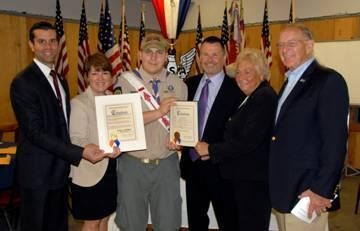 Nassau County Legislator Mike Venditto, Katherine Donohue, Peter Donohue, Nassau County Legislator Rose Walker and Assemblyman Dave McDonough congratulate Tyler Donohue during his Eagle Court of Honor.