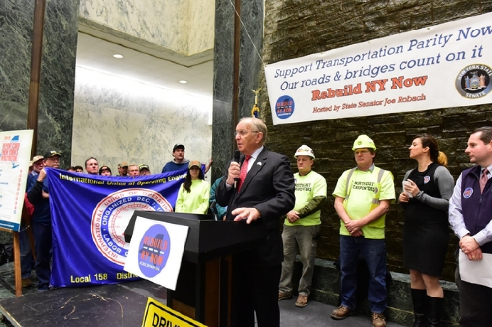 McDonough addresses a crowd of local infrastructure supporters at their annual Rebuild-NY Now Rally in Albany Monday
