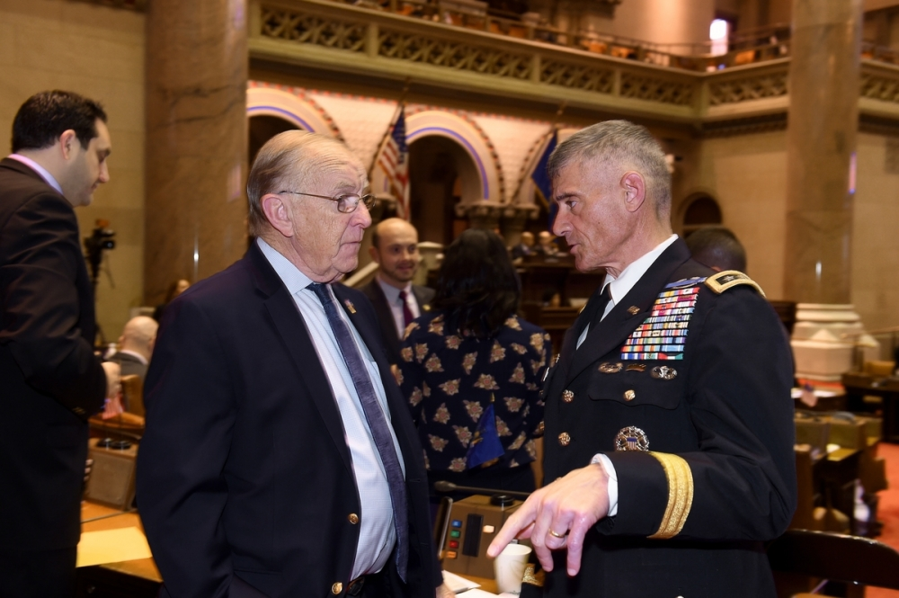 Assemblyman Dave McDonough (R,C,I-Merrick) commends Lt. General Robert Caslen, Superintendent of West Point, for his exemplary career of service.