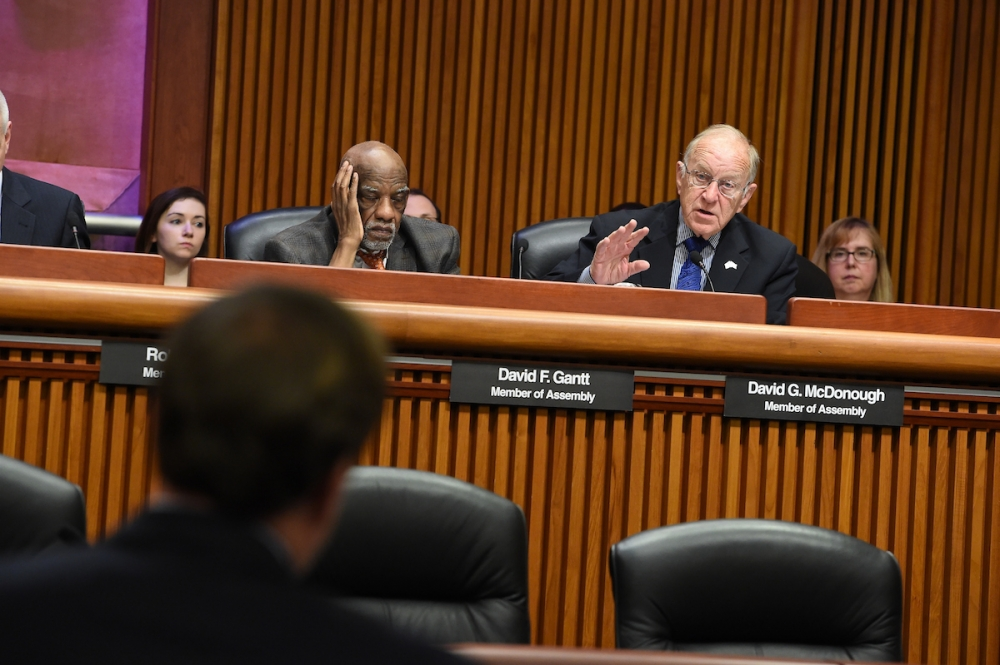 Assemblyman Dave McDonough (R,C,I-Merrick) asking a question of DOT Commissioner Matthew Driscoll at Wednesday's Joint Budget Hearing on Transportation in Albany