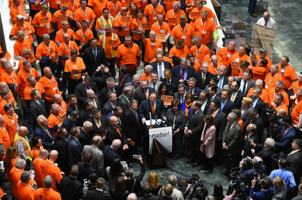 A group of legislators and construction crews from across the state joined together to call for increased CHIPS and PAVE-NY funding at a rally in Albany Wednesday.
