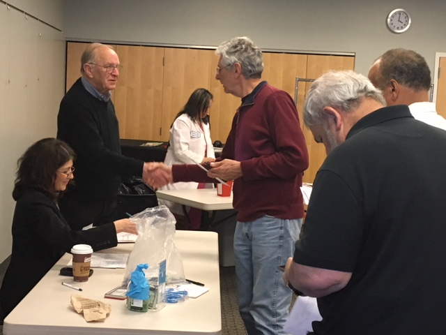 Assemblyman Dave McDonough (R,C,I-Merrick) meets with constituents at his free prostate cancer screening event at the Merrick Library