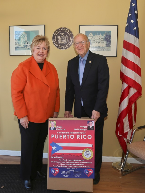 Assemblyman Dave McDonough (R,C,I-Merrick) is joined by Hempstead Town Clerk Kate Murray in his office Friday, Jan. 17 to kick off the Puerto Rico Relief Drive.