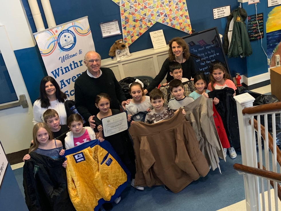 Assemblyman Dave McDonough [center back] is joined by Winthrop Elementary's Student Advisory Council, Principal Sally Curto [back left] and Council Advisor Debra Ammendola [back right].