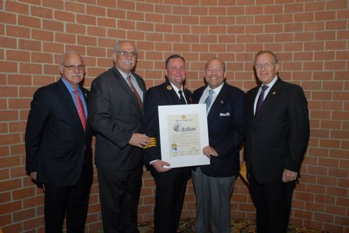 Nassau County Legislator Joe Belisi, Nassau County Legislator Dennis Dunne, outgoing Fire Chief George Anderson, Town of Hempstead Councilman Gary Hudes and myself at the Annual Installation Dinner for the Levittown Fire Department.