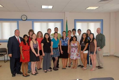 Assemblyman Michael Montesano with Hicksville High School participants from his May 29 simulated press conference.