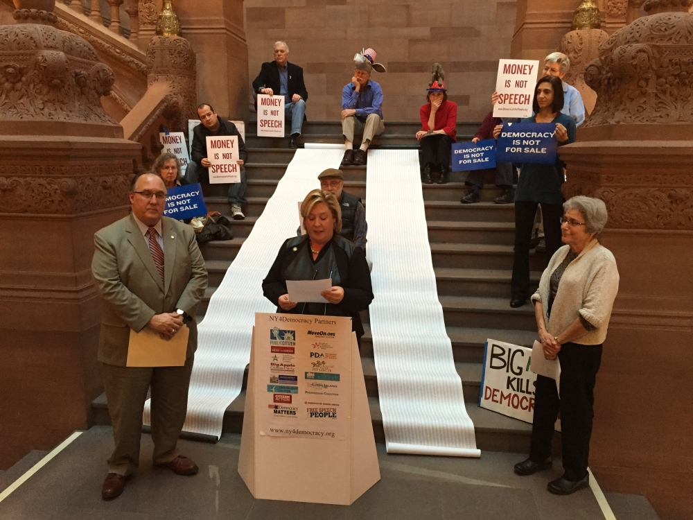 Assemblyman Michael Montesano participates in today�s press conference held on the Capitol stairs.